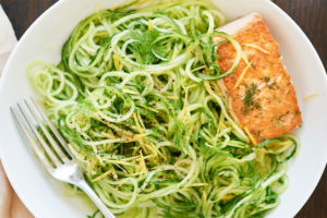 Cucumber noodles with chilled lemon dill