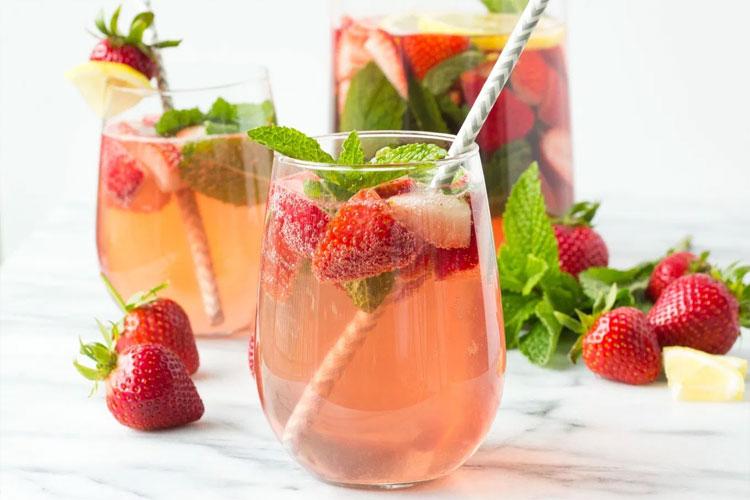 Strawberry cucumber sparkling sangria